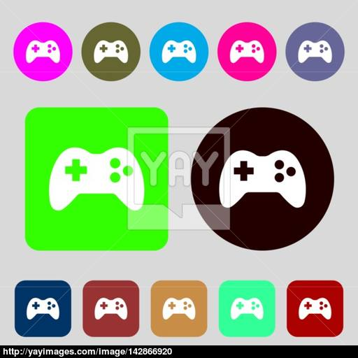 Joystick Sign Icon Video Game Symbol Colored Buttons Flat
