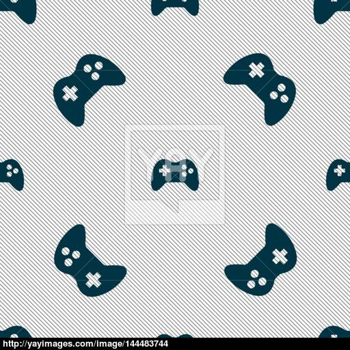 Joystick Sign Icon Video Game Symbol Seamless Pattern