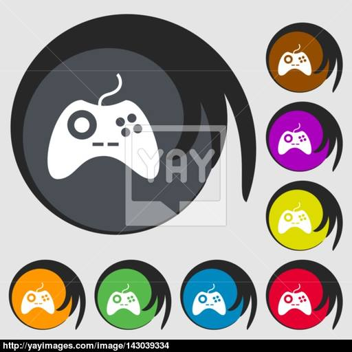 Joystick Sign Icon Video Game Symbol Symbols On Eight Colored