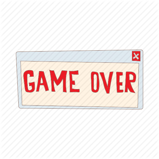 Cartoon, Computer, End, Game, Over, Play, Text Icon