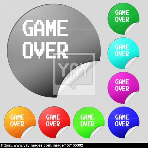 Game Over Concept Icon Sign Set Of Eight Multi Colored Round