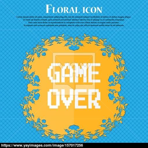 Game Over Concept Icon Floral Flat Design On A Blue Abstract