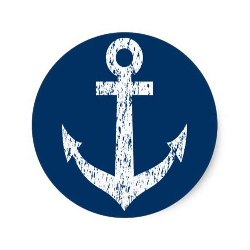 Navy Blue Stickers With Vintage Boat Anchor Icon