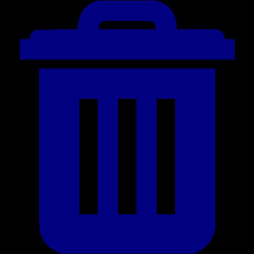 Navy Blue Trash Icon