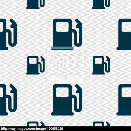 Petrol Or Gas Station, Car Fuel Icon Sign Seamless Pattern