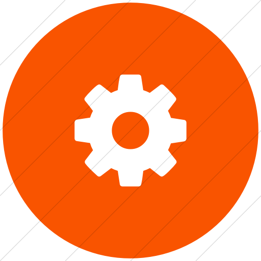 Flat Circle White On Orange Bootstrap Font Awesome Gear