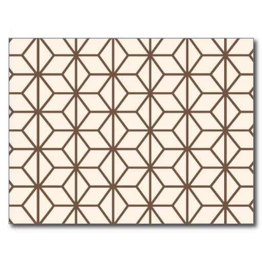 Brown And Beige Geometric Art Deco Pattern Postcard