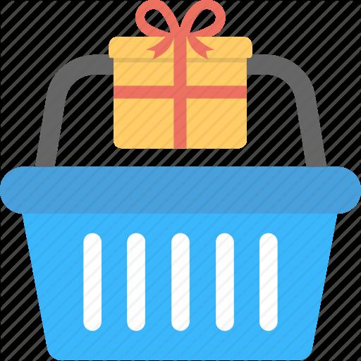 Gift Basket, Gift Inside Basket, Hamper, Shopping Basket Icon