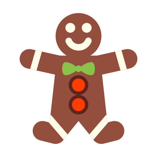 Gingerbread, Man Icon Free Of Winter Holiday