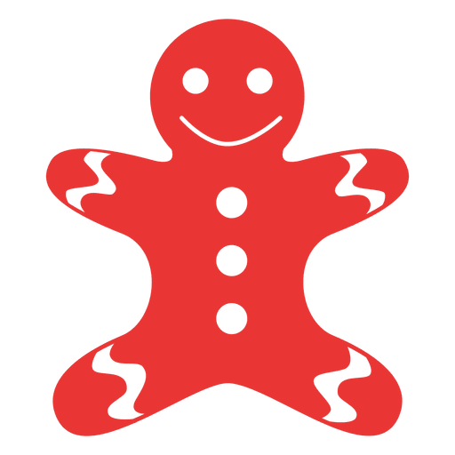 Gingerbread Man Flat Icon Red