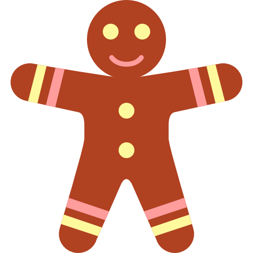 Gingerbread Men Icon Christmas Flat Color Iconset