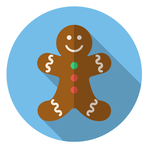 Winter, Holiday, Xmas, Smile, Cute, Christmas, Gingerbread Icon
