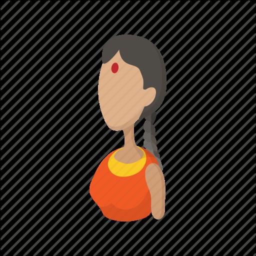 Cartoon, Dress, Girl, Indian, Sari, Traditional, Woman Icon