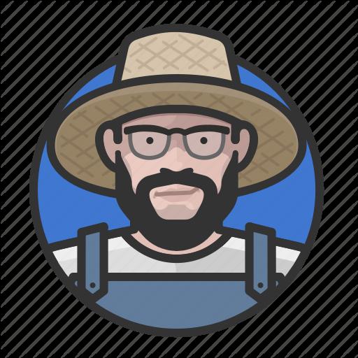 Caucasian, Farmer, Man, Overalls Icon
