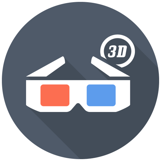 D Glasses Icon Free Flat Multimedia Iconset Designbolts