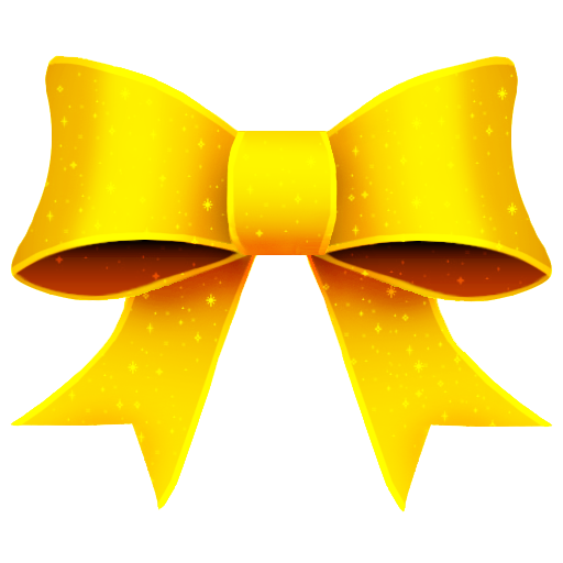 Ribbon, Yellow, Bright, Glitter, Christmas Icon Free Of Christmas