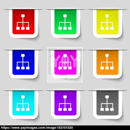 Social Network Icon Sign Set Of Multicolored Modern Labels