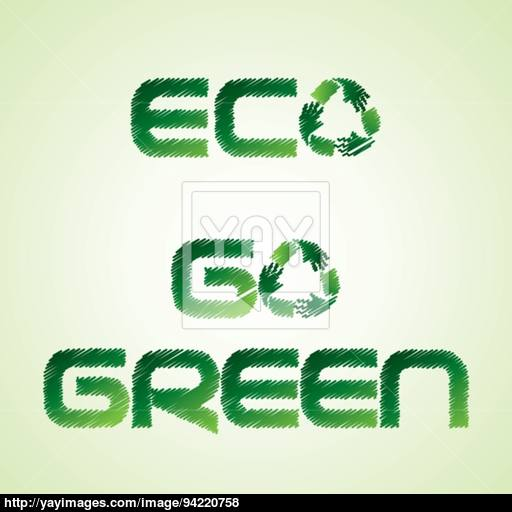 Sketched Eco And Go Green Word Make