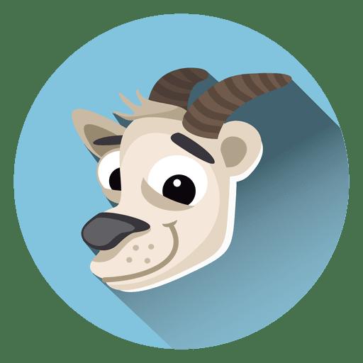 Goat Cartoon Circle Icon