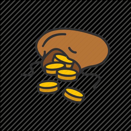 Coin Bag, Coins, Gold, Gold Coins Icon