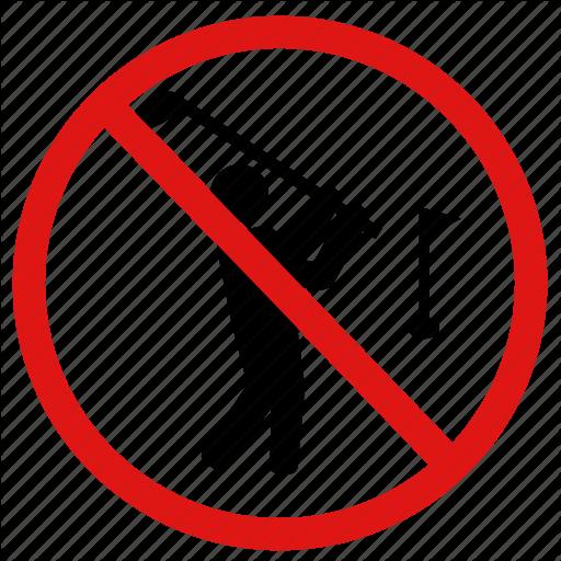 Field, Golfing, No Golf, Prohibited, Prohibition Icon