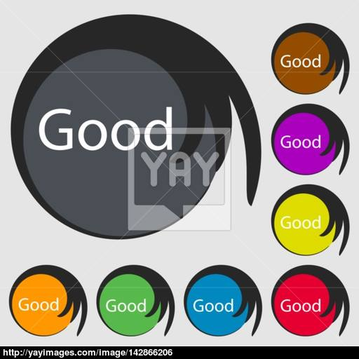 Good Sign Icon Symbols On Eight Colored Buttons Vector Vector