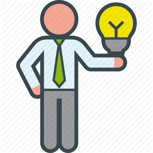 Bulb, Business, Clever, Good, Idea, Man, Presentation Icon