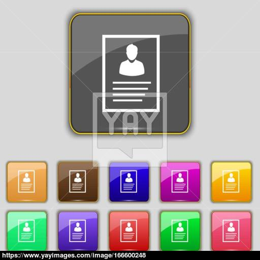 Form Icon Sign Set With Eleven Colored Buttons For Your Site