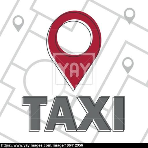 Vector Taxi Icon Map Pin With Taxi Checks Sign Vector