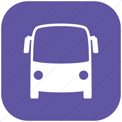 Flat Rounded Square White On Purple Raphael Bus Icon
