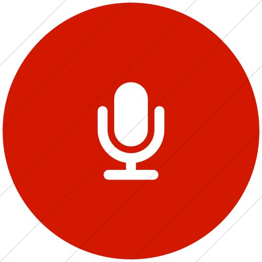 Flat Circle White On Red Foundation Microphone Icon