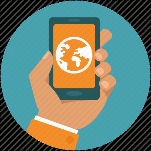 App, Globe, Hand, Internet, Mobile, Online, Phone Icon