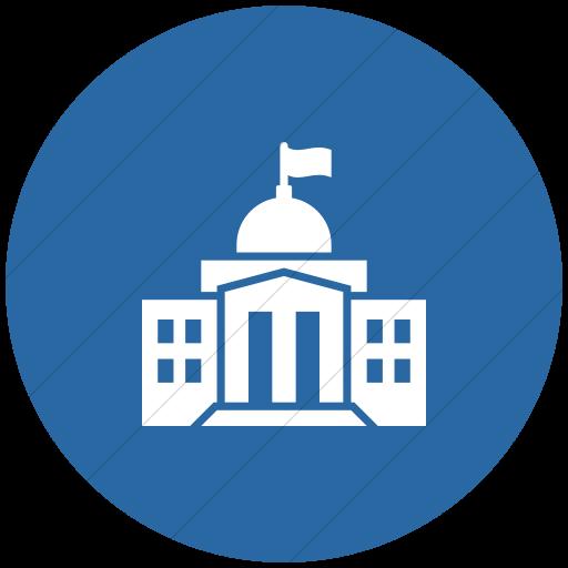 Flat Circle White On Blue Iconathon Federal Government Icon