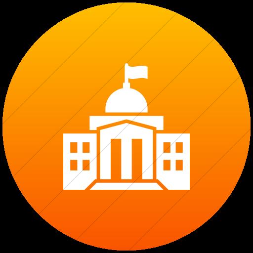 Flat Circle White On Orange Gradient Iconathon Federal
