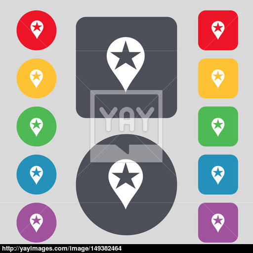 Map Pointer Award, Gps Location Icon Sign A Set Of Colored