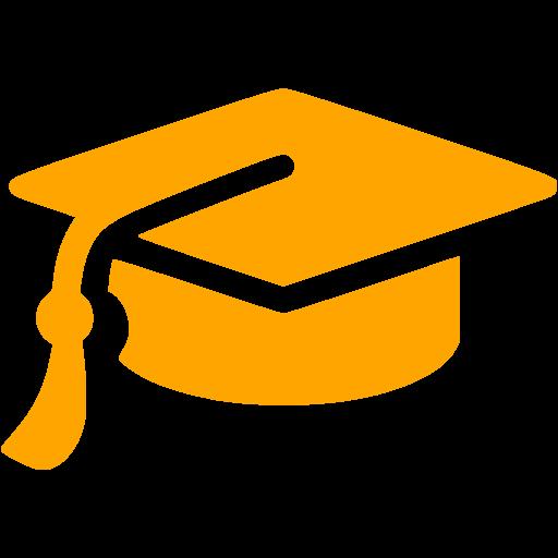 Orange Graduation Cap Icon
