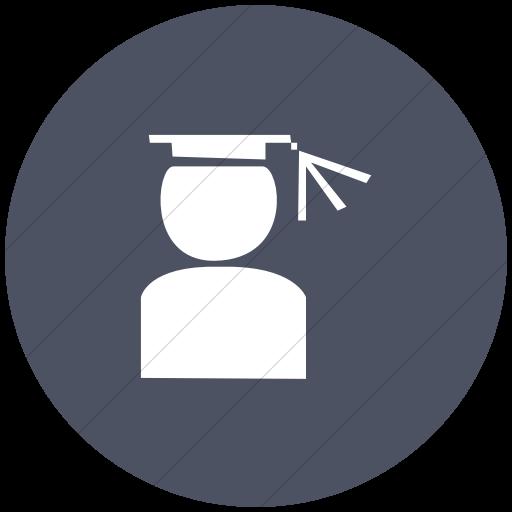 Flat Circle White On Blue Gray Classica Graduation Hat Icon