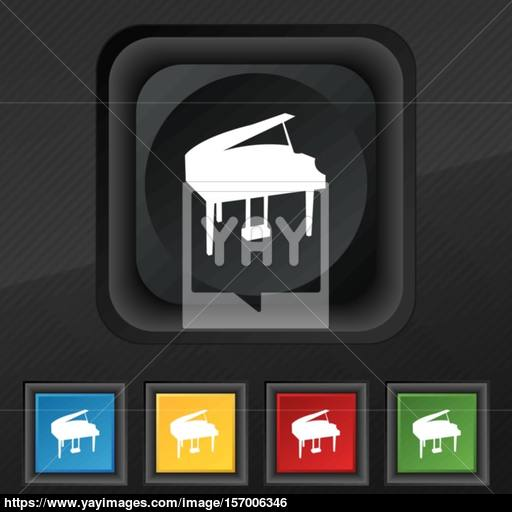 Grand Piano Icon Symbol Set Of Five Colorful, Stylish Buttons
