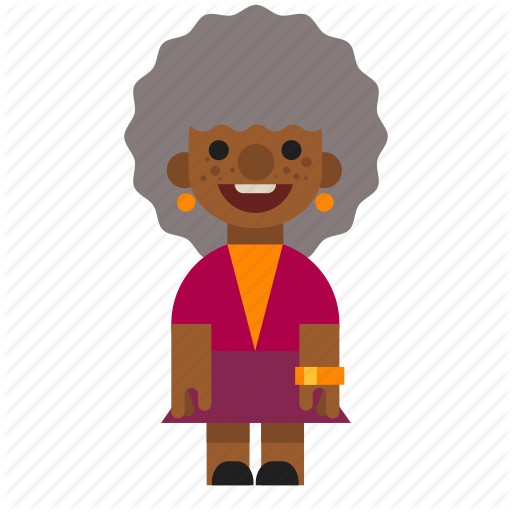 Black, Female, Grandma, Laughing, Old, Smiling, Woman Icon