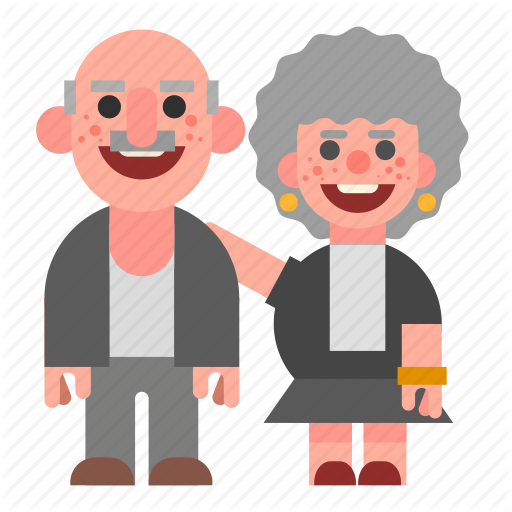 Couple, Grandma, Grandpa, Grandparents, Laughing, Smiling, White Icon