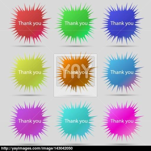 Thank You Sign Icon Gratitude Symbol Nine Original Needle
