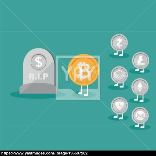 Dollar Coins Icon Tombstone Flat Real Money Vs Bitcoin Virtual