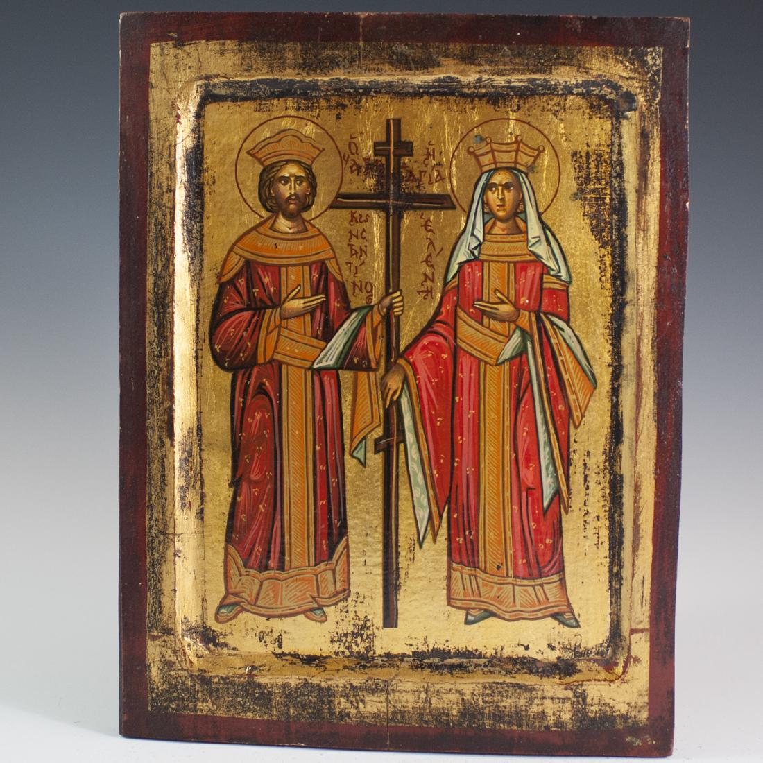 Antique Greek Orthodox Wooden Icon
