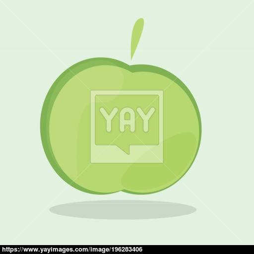 Green Apple Icon, Ecology And Bio Food Concept Vector