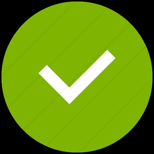 Flat Circle White On Green Raphael Check Mark Icon