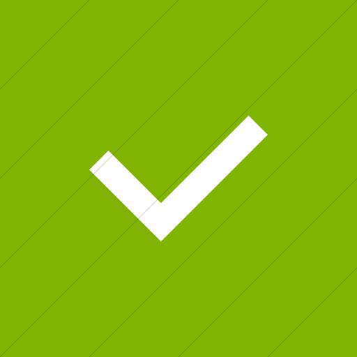 Flat Square White On Green Raphael Check Mark Icon
