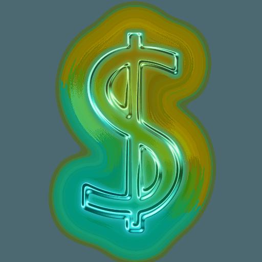 Glowing Green Neon Icon Alphanumeric Dollar Free