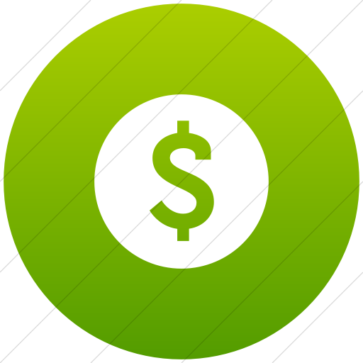 Flat Circle White On Green Gradient Raphael Dollar Sign