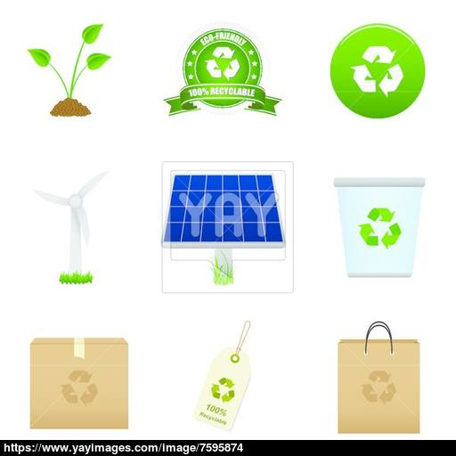 Renewable Energy And Recycle Icon Vector