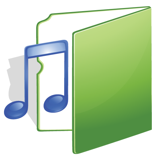 Music, Green, Folder Icon